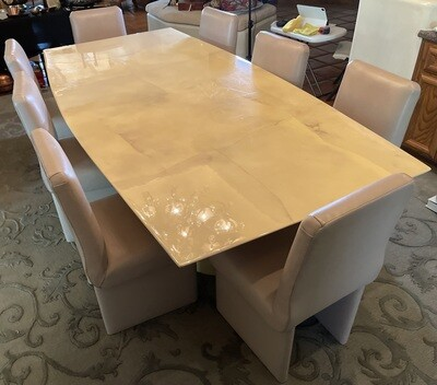 Contemporary Custom Lacquered Goatskin Table & 8 Leather Chairs Karl Springer?