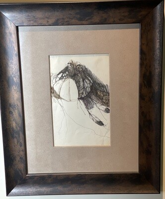 *Original* Frank Howell Sketchbook Drawing Pen/Ink Framed Sketch #3