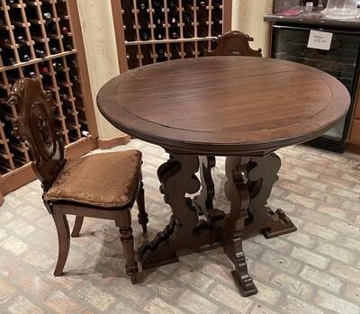 3pc Italian Antique Walnut Bistro Set  Table & 2 Chairs