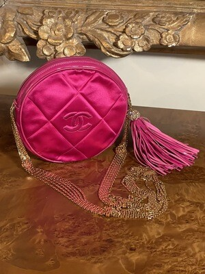 AUTH CHANEL ROUND CIRCLE CLUTCH ON CHAIN RED CC SHOULDER CROSSBODY BAG