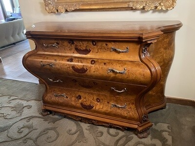 Burlwood With Inlay Design Custom 4 Drawer Buffet/Cabinet