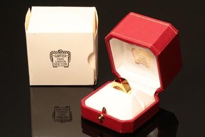 Cartier 18k Gold & Amber Tank Ring in Original Box 5.25