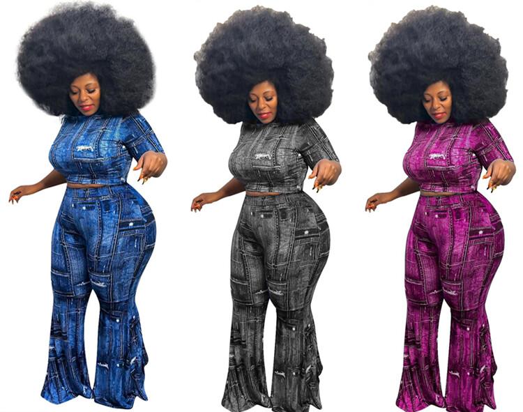 MOEN Plus Size Trendy Stretchy Frauen 2 Piece Set