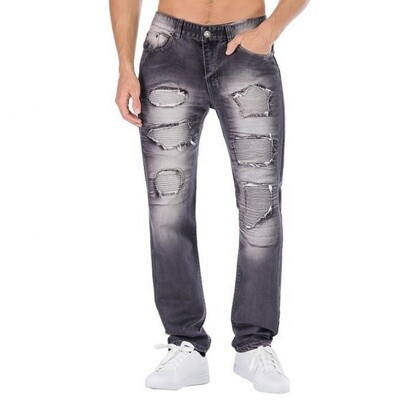 Straight Slim Fit, Ripped Casual Denim Jeans