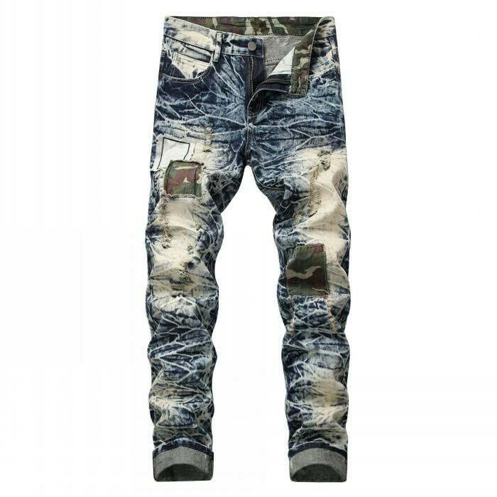Retro Patchwork Slim Fit, Ripped Denim Jeans