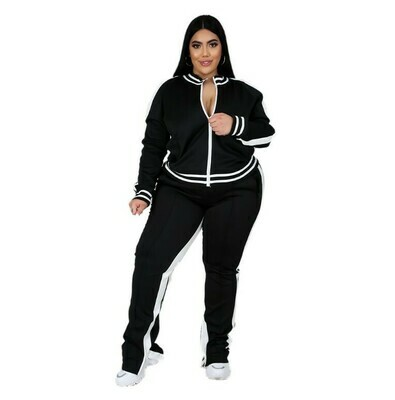 Spring fall plus size two piece jogger tracksuit outfit