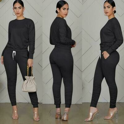 Ladies fall fitted pure color casual sport 2 piece sweat set