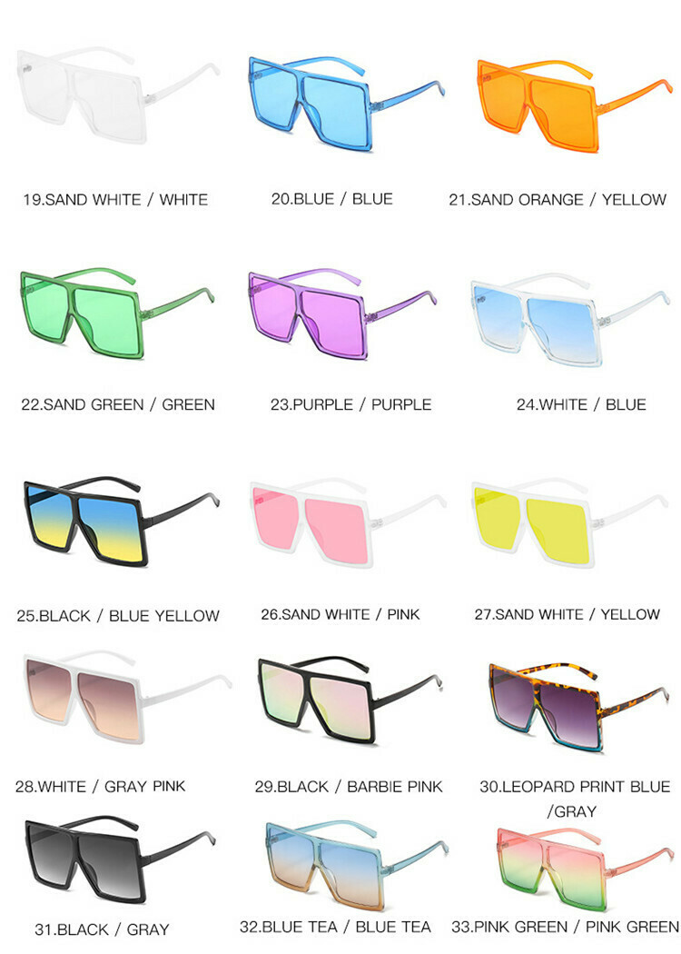2020 Big Square Oversized Shades Sunglasses UV400 CE