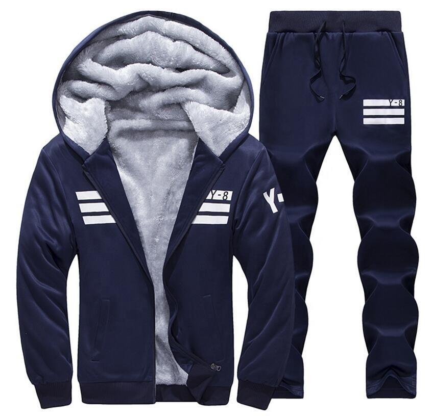 Mens Fleece Hoodies Zip-up Tracksuit Outwear