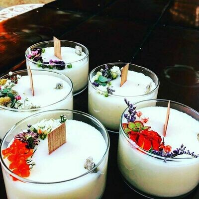 Selenite & Flower Candles