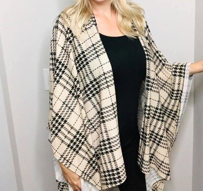 Black and Cream Plaid Duster