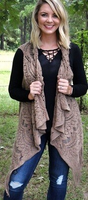 Alpine Retreat Fringed Vest - Taupe