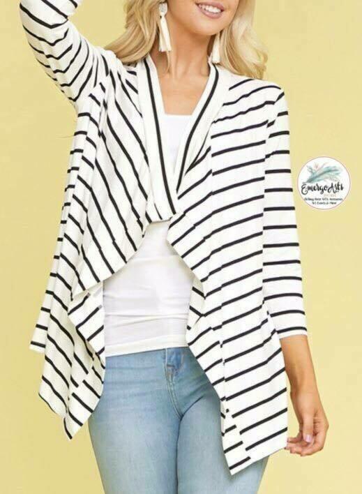 White & Black Stripped Cardi