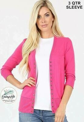 Pink Button Up Cardi - Plus