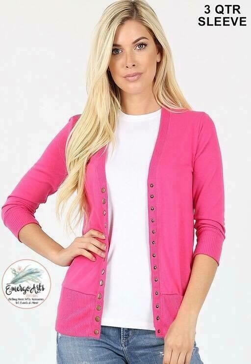 Pink Button Up Cardi - Plus