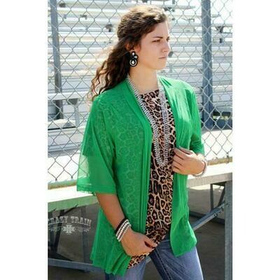 CRAZY TRAIN Green Kimono
