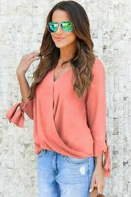 Pink Ruched Tie Sleeve Top