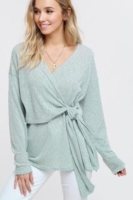 Green Front Knot Tie Top