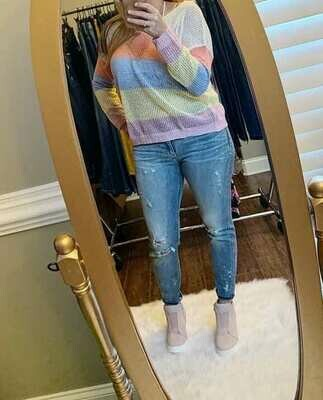 Samantha Pink Mesh Sweater