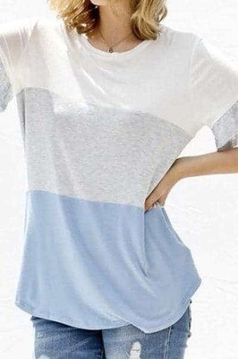 Blue Block Color Ruffle Sleeve