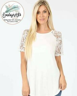 White Lace Sleeve Tee