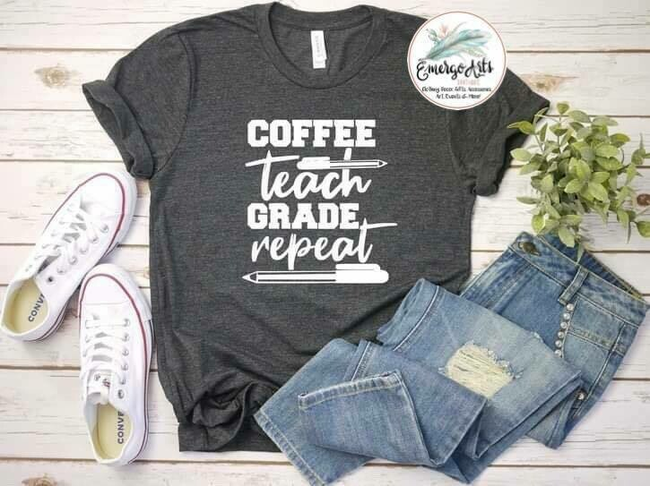 Coffee Teach Grade Repeat Tee