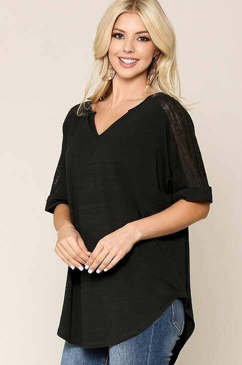 Ronita Black Lace Shoulder Top