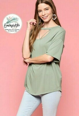 Sage Cross Front Top