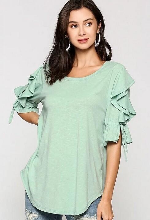 Leah Mint Ruffle Sleeve Top