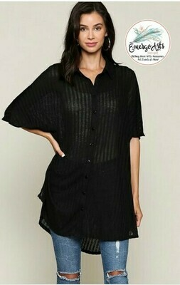 Rib Button Down Tunic