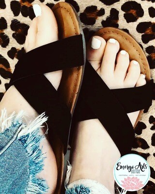 Black Cross Over Sandals