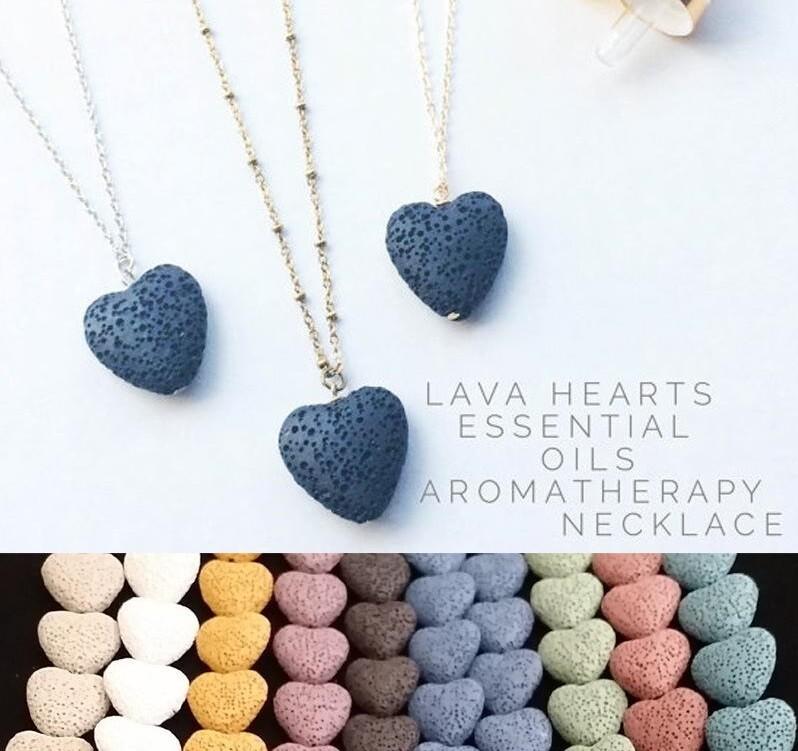 Heart Lava Rock Pendant Necklace - Oil Diffuser Aromatherapy