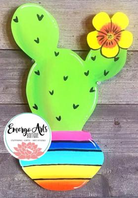 Cactus Color Door Hanger - Painted