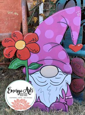 Flower Gnome Door Hanger - Painted