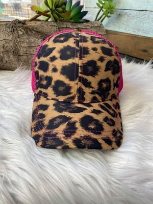 Crazy Train Leopard & Pink Pony Tail Hat