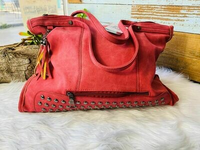 Studded Boho Purse - Pink/Red