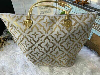 White & Gold Tote Bag