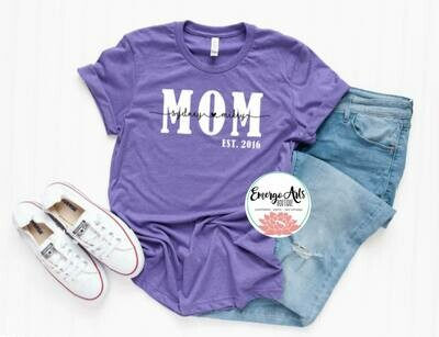 Mom Established Mothers Day Tee