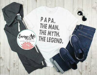 Papa The Man The Myth Fathers Day Tee