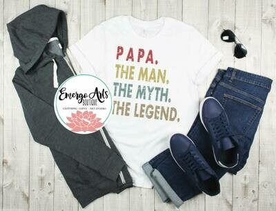 Papa The Man The Myth Color Fathers Day Tee