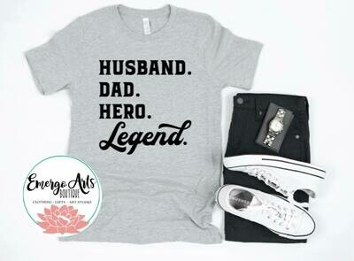 Husband Dad Hero Fathers Day Tee
