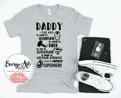Super Heros Daddy Fathers Day Tee