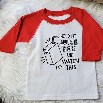 HOLD MY JUICE BOX Kid Raglan