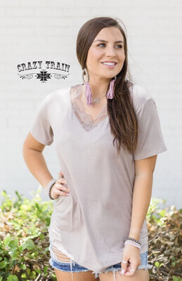 Very Fave Vneck Tee Taupe - Crazy Train
