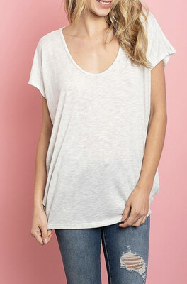 Shelly Scoop Neck Top - Oatmeal