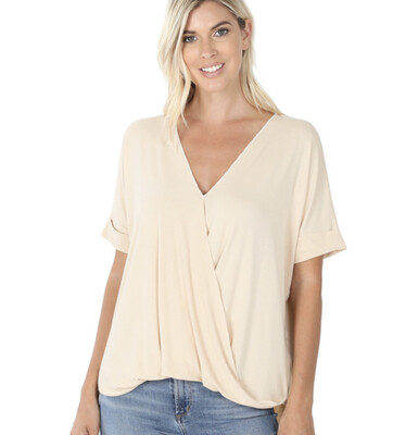 Rosalee Cross front Top - Taupe
