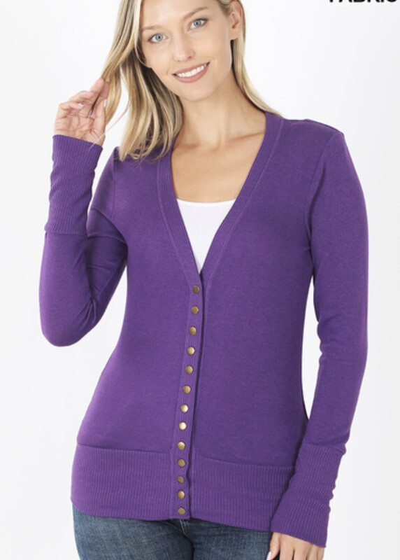 Purple Snap Button Cardigan