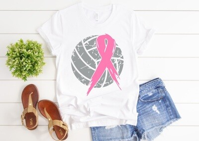 Volleyball Pink Ribbon Cure Cancer Tee Shirt