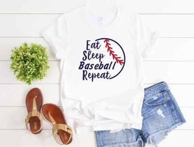 Eat Sleep Repeat Baseball Tee Shirt