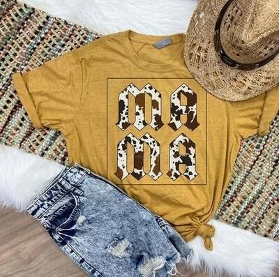 Mama Cow Print Mom Shirt